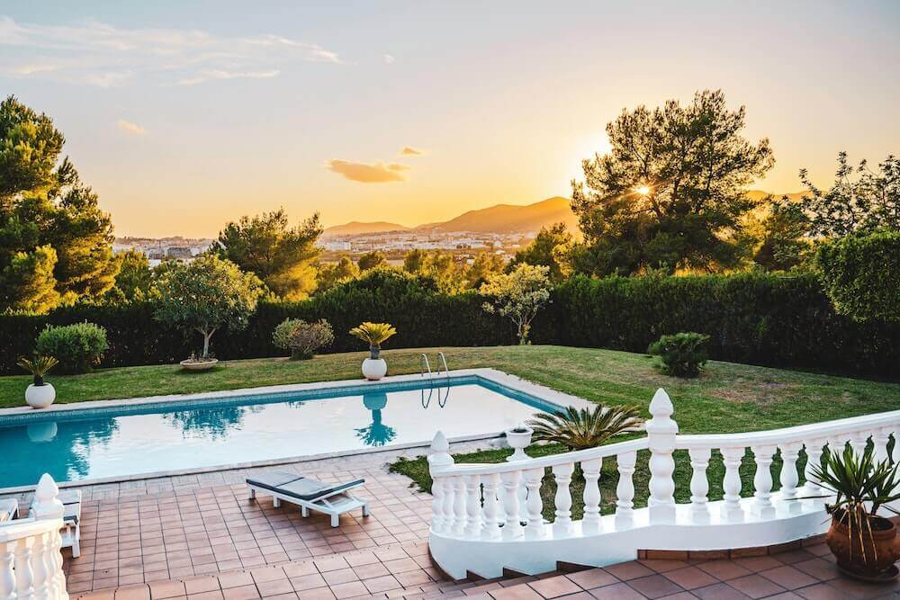 Ibiza hen party house with a pool and a view